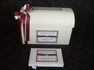 Post Box Card Chest Satin & Lace Vintage Style & Guest Book 40+ ribbon colours
