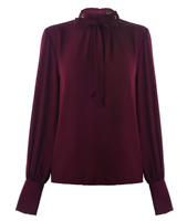 BIBA Pussybow Blouse Purple Ladies Size UK 8 (XS) *REF56*