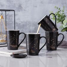 """Black Constellation"" Beautiful Ceramic Mug Cup with Lid Spoon Milk Coffee Cup"