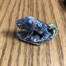 Zuni Serpentine Great Horned Lizard Fetish By Ben Kaamasee *Signed*