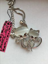 Betsey Johnson Double Silver Cats Pendant Necklace, Cat with Rhinestones