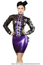 R1408 DAME LATEX RUBBER BLOUSE 16 Seconds Trans Black/PS Purple RRP £192.60