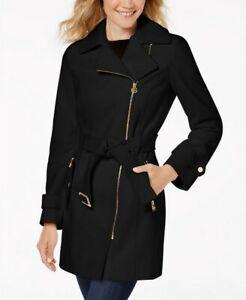 Michael Kors Asymmetrical Belted Coat Black Wool Blend Size XS,S,M RRP $275 MK