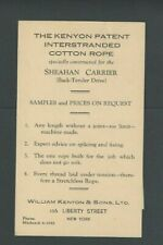Ca 1937 Ny Wm Kenyon & Sons Ltd Inter Standard Cotton Rope Patent Non-Stratch