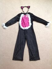 GIRLS CATWOMAN FANCY DRESS HALLOWEEN COSTUME COMPLETE WITH HEADBAND & TAIL BNWOT