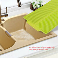 Silicone Drying Mat Pad Kitchen Counter Top Dish Rack glasses Drainer Home LD