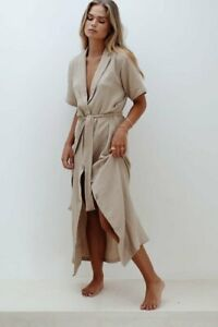 Maurie & Eve Size 12 / M Higher Love Dress Sand NWOT RRP$149