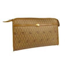 Christian Dior Logos Clutch Hand Bag Pouch Purse Brown PVC Leather Vintage 30958