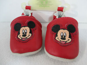 Disney Baby Shoes Mickey Mouse Moccasin Leather Red 0-6 Month Soft Sole New