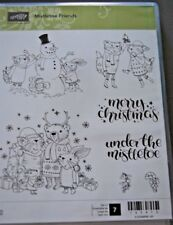 Stampin' Up Mistletoe Friends - Set of 7 Red Rubber Cling Mount Stamps - NIP