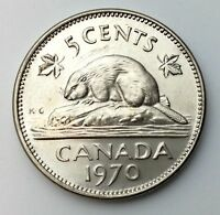 1970 Canada Five 5 Cents Nickel Uncirculated Rare Date Coin Fresh From Roll A249