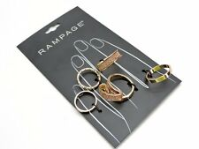 Rampage Four Finger Ring Set Assorted Sizes Fits Most Goldtone Set Of Five New!
