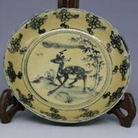 China Antique Porcelain Ming Blue And White Hand-painted Deer Plate C