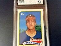 """1989 TOPPS JOHN SMOLTZ ATLANTA  """"ROOKIE CARD"""" #382 - GRADED (7.5) NEAR MINT+"""