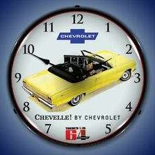 1964 CHEVELLE CONVERTIBLE LIGHTED WALL CLOCK YELLOW RETRO GARAGE MAN CAVE - NEW
