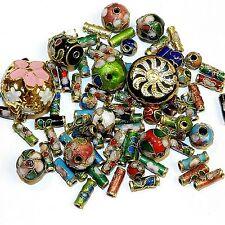 CL167 Assorted Color, Shape & Size 6mm - 16mm Cloisonne Enamel & Metal Beads 1oz