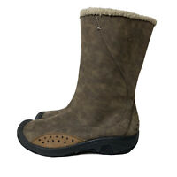 KEEN Women's Size 40.5 (10) Mid-Calf Leather Boots Shearling Lined Taupe Brown