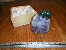 Lovely Carved Canadian Jade Bear on Amethyst