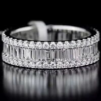 1.5Ct 100% Natural 14K White Gold Baguette Round Cocktail Diamond Band Ring RU2