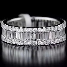 1.5Ct 100%Natural 14K White Gold Baguette Round Cocktail Diamond Band Ring RU2-2