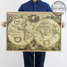 1641 Map of the World Old Earth Vintage Retro wall Art Home Office Decor 28x20""