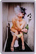 Funny Girl Pinkelpause auf WC Metallschild 20x30 Retro Reklame Blechschild 880