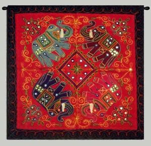 """35"""" RED RARE TEXTILE HAND EMBROIDERED HANGING TAPESTRY TABLE LINEN RUNNER THROW"""