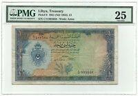 Libya Libia Libyan Banknote 1 Pound 1951 P9 PMG VF 25 Idris Rare Paper Money