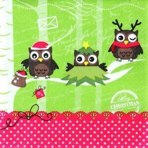 """4 Servietten """"DRESSED UP OWLS"""" 33x33 Napkins Eulen Weihnachten Schrift"""