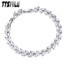 TTstyle 18K White Gold GF Leaf Wedding Bracelet Ajustable 17-19cm NEW