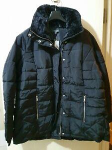 NEW~ AUTOGRAPH Plus Size 18 Fur Trim Puffer Jacket Coat Black Ladies $129