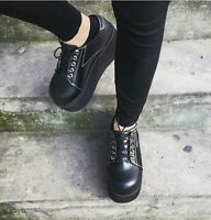 Womens Casual Lace Up Goth Creepers Chunky Heels Platform Round Toe Shoes Size