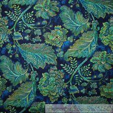 BonEful Fabric FQ Cotton Quilt VTG Navy Blue Aqua Green Leaf Peacock Flower Vine