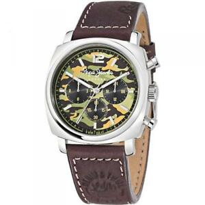 Mens Watch PEPE JEANS HOWARD R2351111001 Camouflage Military Leather Brown