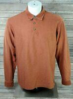 LL Bean Mens Medium Long Sleeve Orange Micro Stripe Polo Rugby Shirt