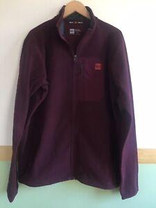 Mens MEC Zip Up Fleece Size Large Burgundy Polartec