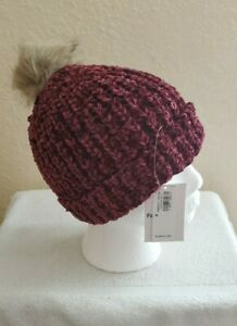Winter hat with Pom Pom, Toddler Girls size M, color Deep rose plum. NEW.