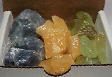 3 Calcite Collection 1/2 Lb Natural Blue Orange Green Mineral Specimens