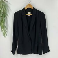 Chico's Womens Snap Button Jacket BLazer Size 0 S Black Rayon Lightweight N11