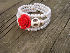 Day of the Dead Bracelet Sugar Skull Wrap red Rose white wedding faux pearls