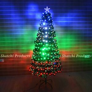 LED Fibre Optic Christmas Tree Pre Lit Xmas Lights up Home Decorations 2ft-6ft