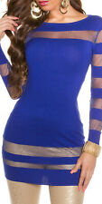ROYAL BLUE STRIPED MESH JUMPERDRESS LONGSLEEVE XMAS PARTY ONE SIZE 8 10 12