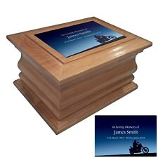 Wooden Cremation urn ashes casket Night Bike personalised oak adult human urns