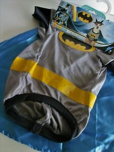 BATMAN Dog Costume MEDIUM Shirt w/ Detachable Cape & Headpiece 2pc PET DC Comics