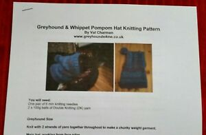 Greyhound and Whippet Pompom Hat Knitting Pattern