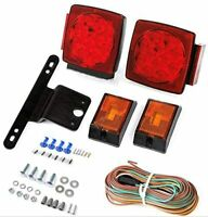 Pair LED Submersible Tail Brake Stop License Light Kit Trailer Boat RV Under 80""