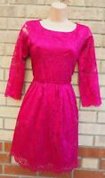 WAREHOUSE PINK MAGENTA FLORAL LACE 3/4 SLEEVE A LINE SKATER PARTY DRESS 14 L