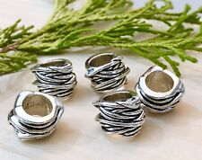 5 Unique antique silver intertwined style European beads 11m x 15m Large hole 8m