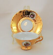 ANTIQUE BAVARIA TIRSCHEN CUP AND SAUCER SET COURTING COUPLE GOLD