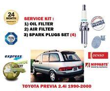 für Toyota Previa 2.4i 2TZ-FE 1990-2000 NEU Öl Luft Filter + Kerzen Wartung Satz